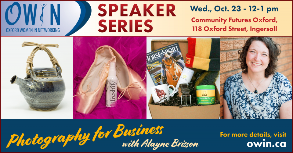 Speaker Series: Photography for Business with Alayne Brisson, October 23rd, 12-1pm